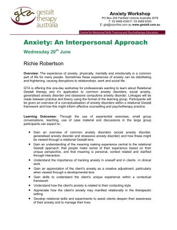 Relational approaches in gestalt therapy gestalt international anxiety an interpersonal approach gestalt therapy australia fandeluxe Images