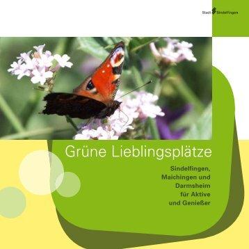 """Broschüre """"Grüne Lieblingsplätze"""" - bei der Stadt Sindelfingen"""