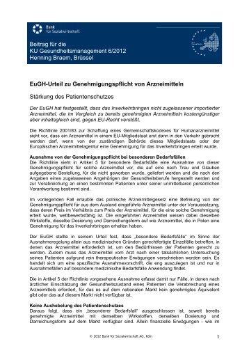 Beitrag für die KU Gesundheitsmanagement 6/2012 Henning Braem ...
