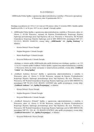 1 PLAN PODZIAŁU ARBOmedia Polska Spółka z ... - ARBOinteractive