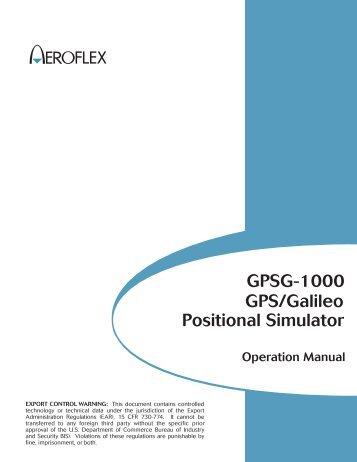 Positional Simulator GPS/Galileo GPSG-1000 - SAS-Origin