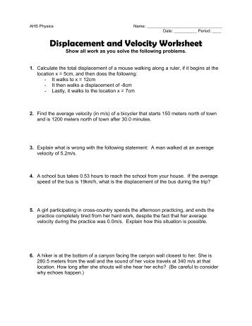 in class worksheet on displacement and velocity. Black Bedroom Furniture Sets. Home Design Ideas