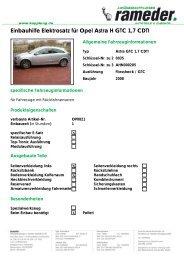 Einbauhilfe Elektrosatz für Opel Astra H GTC 1,7 CDTI