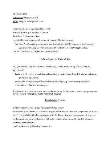videreutvikle skrivestrategi med bruk av tre faser - Lesesenteret