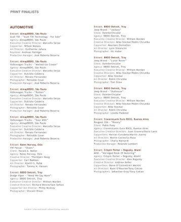 PRINT FINALISTS AUTOMOTIVE - London International Awards