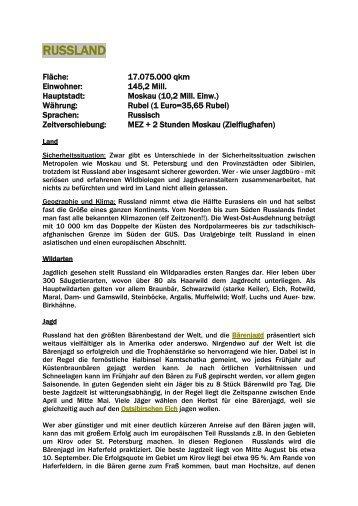 Länderinformation Russland - Jagdbüro G. Kahle