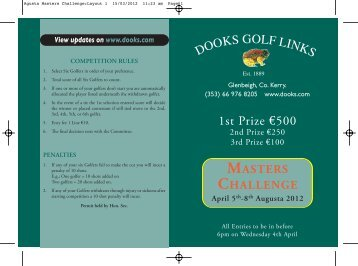 MASTERS CHALLENGE April 5th-8th Augusta 2012