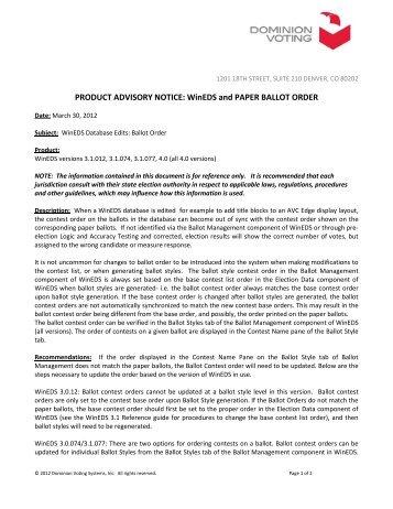 PRODUCT ADVISORY NOTICE: WinEDS and PAPER ... - Brad Blog