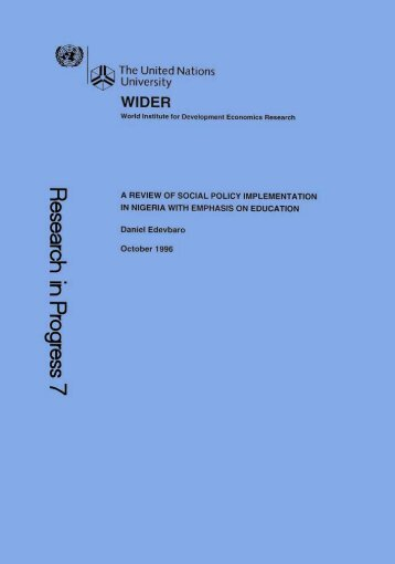 RESEARCH IN PROGRESS A Review of Social Policy - unu-wider ...