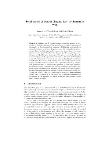 SemSearch: A Search Engine for the Semantic Web - CiteSeerX