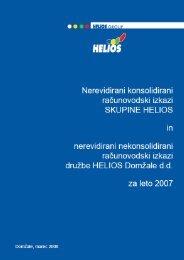 Nerevidirani konsolidirani in nekosolidirani izkazi - Helios Group