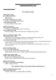 Témy diplomových a bakalárskych prác podľa katedier a pracovísk ...