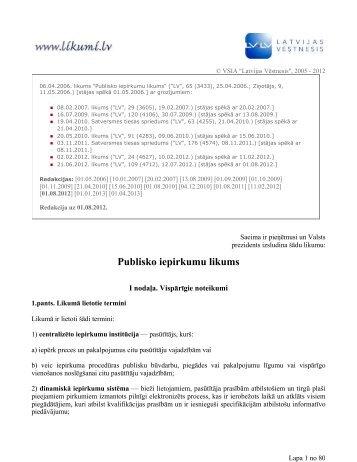 Publisko iepirkumu likums - Iepirkumu uzraudzības birojs