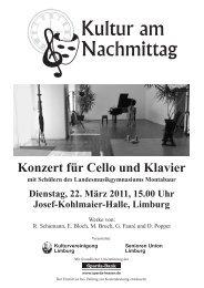 Konzert für Cello und Klavier - Kulturvereinigung Limburg e.V.