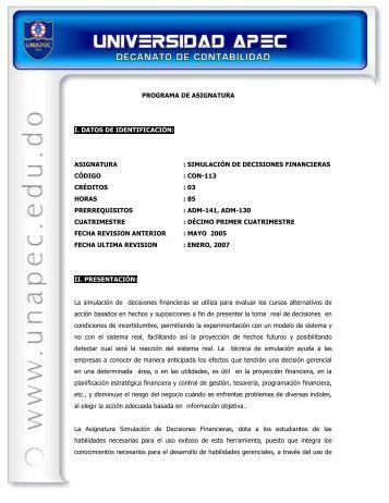 simulación de decisiones financieras código : con-113 cr
