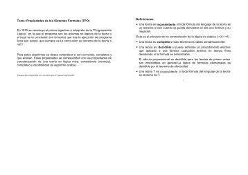 Tema: Propiedades de los Sistemas Formales (TPO) En 1975 se ...