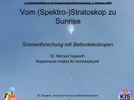 Sonnenforschung mit Ballonteleskopen - Kiepenheuer-Institut für ...