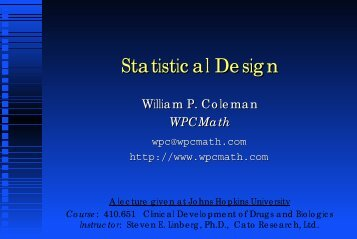 Statistical Design - WPCMath