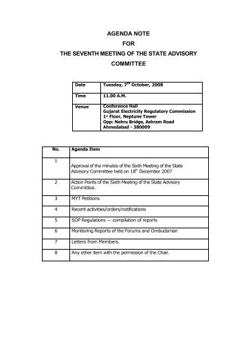 agenda note for the seventh meeting of the state advisory ... - GERC