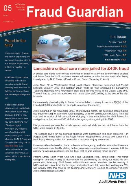 Newsletter Fraud Guardian Audit North West Internal Audit Nhs