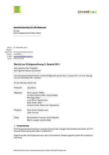 Bericht zur Erfolgsrechnung 3. Quartal 2011 [PDF, 31.0