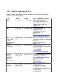6-4.5 Giftinformationszentralen - Abc-Gefahren