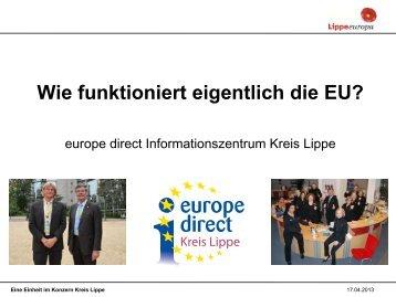 "Flyer ""Wie funktioniert eigentlich die EU?"" - Europe Direct Kreis Lippe"