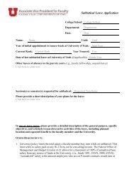 Sabbatical Leaves - College of Education - University of Utah
