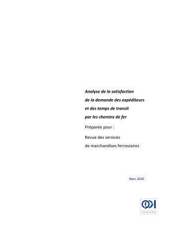 Analyse de la satisfaction de la demande des expéditeurs et ... - QGI