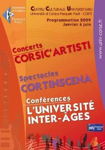 Programmation culturelle janv-juin 2009 - Università di Corsica ...