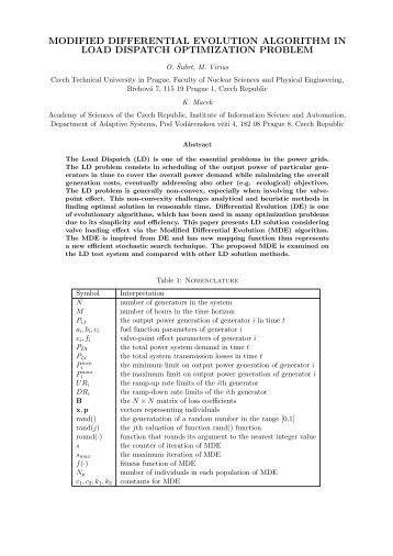 modified differential evolution algorithm in load dispatch ... - Humusoft