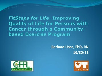 FitSteps for Life: Improving QOL for Persons with Cancer ... - IUPUI