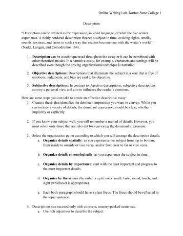 "Online Writing Lab, Darton State College 1 Description ""Description ..."