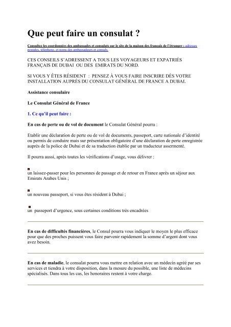 Que peut faire un consulat - Consulat général de France à Dubaï