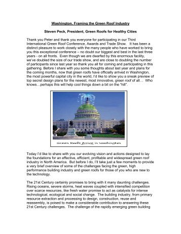 Washington, Framing the Green Roof Industry - Green Roofs for ...