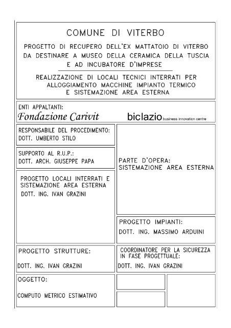 Allegato E - Computo Metrico Estimativo - Biclazio.it