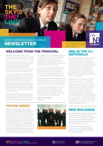 NBA Newsletter - Oct 2010 - North Birmingham Academy