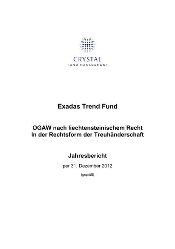 Exadas Trend Fund - Crystal Fund Management AG