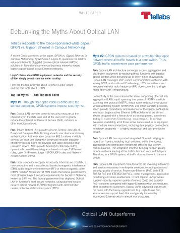Debunking the Myths About Optical LAN - Tellabs