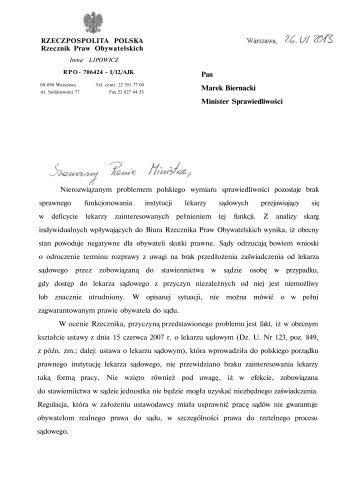 RZECZPOSPOLITA POLSKA Rzecznik Praw Obywatelskich Pan ...