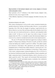 Representations of international adoption and ... - Tobias Hübinette