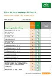 Checkliste Kleiner Verbandkasten - Institut für Betriebliche ...