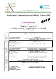 Bundesweite Aktionstage Gemeinschaftliches Wohnen 2012
