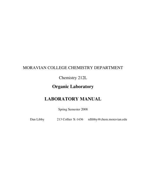 Organic Laboratory LABORATORY MANUAL - Moravian College ...