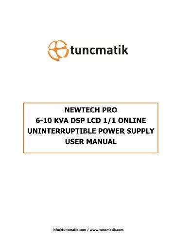 Newtech Pro Tower / Rack 6-10kVA English User Manual - Tuncmatik