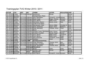 Trainingsplan TVG Winter 2010 / 2011 - TV Güttingen