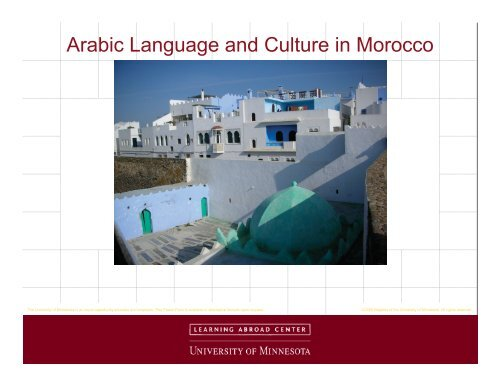 Arabic Language and Culture in Morocco - Learning Abroad Center ...