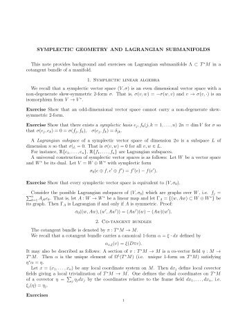SYMPLECTIC GEOMETRY AND LAGRANGIAN SUBMANIFOLDS ...
