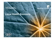 Local Health Economy - Centre for Innovation in Health Management