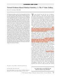 Toward Evidence-Based Medical Statistics. 1: The P Value Fallacy